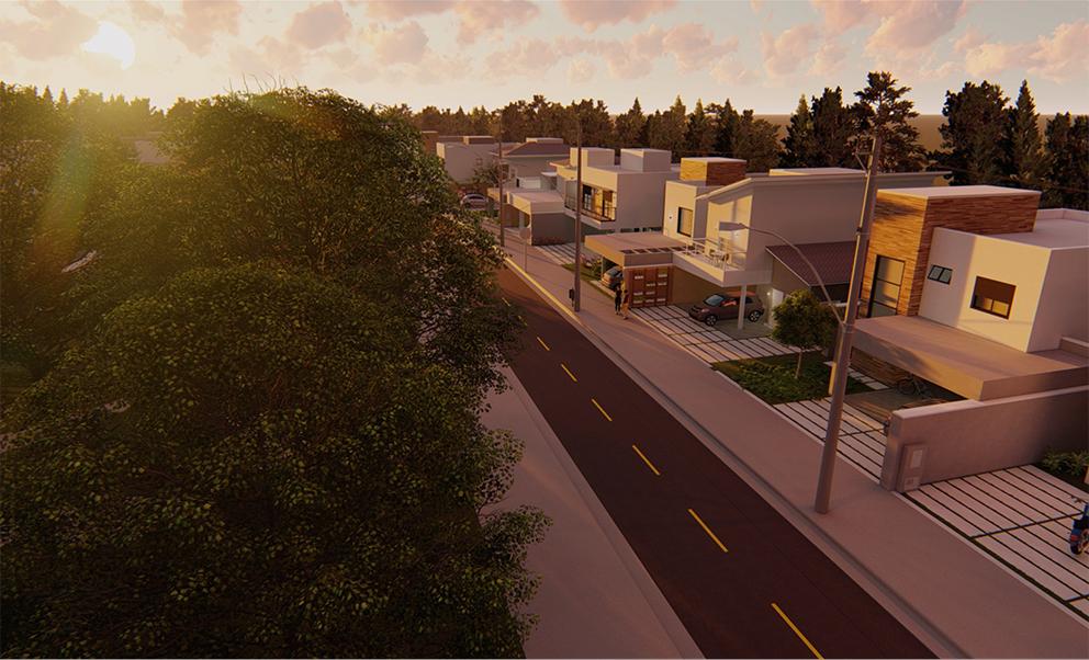 Desenho 3D com rua em perspectiva e casas projetadas
